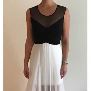 BCBG black and white evening gown
